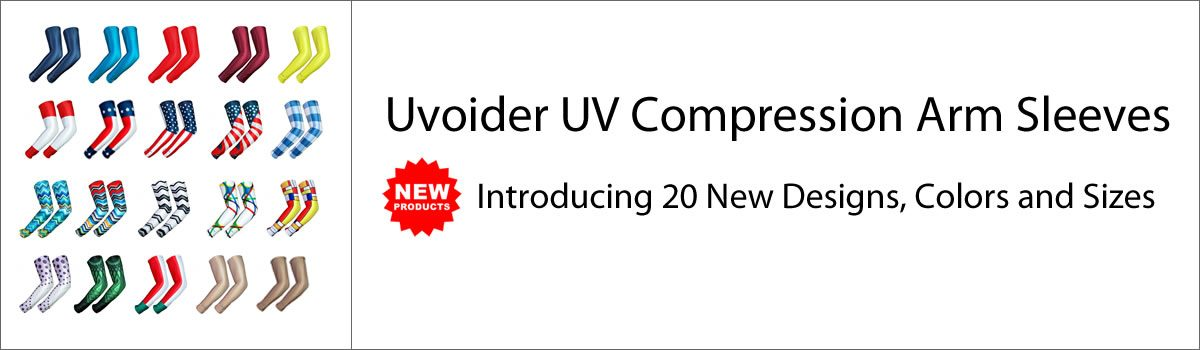Uvoider UV Compression Arm Sleeves – Introducing 20 New Designs, Colors and Sizes