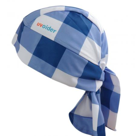 UV Bandana Skull Cap 320 Blue Gingham