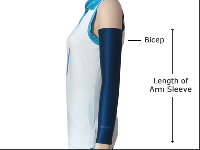 Size Chart for Uvoider UV Compression Arm Sleeves