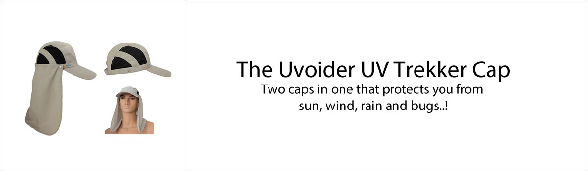 The Uvoider UV Trekker Cap - Two caps in one that protects you from sun, wind, rain and bugs..!